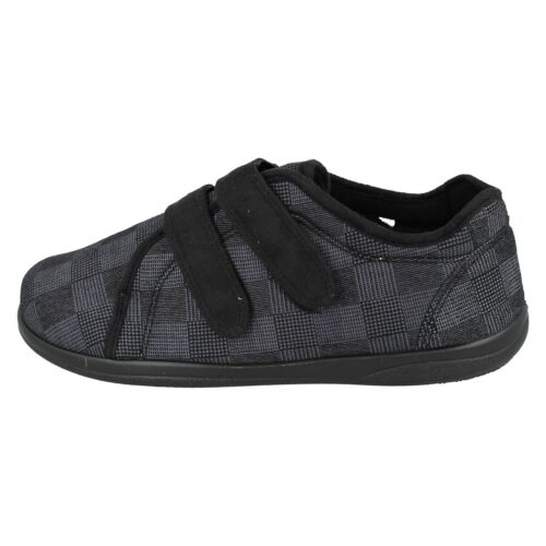 MENS PADDERS DOUBLE STRAP WARM WIDE WINTER SHOES INDOOR HOUSE SLIPPERS DUAL SIZE