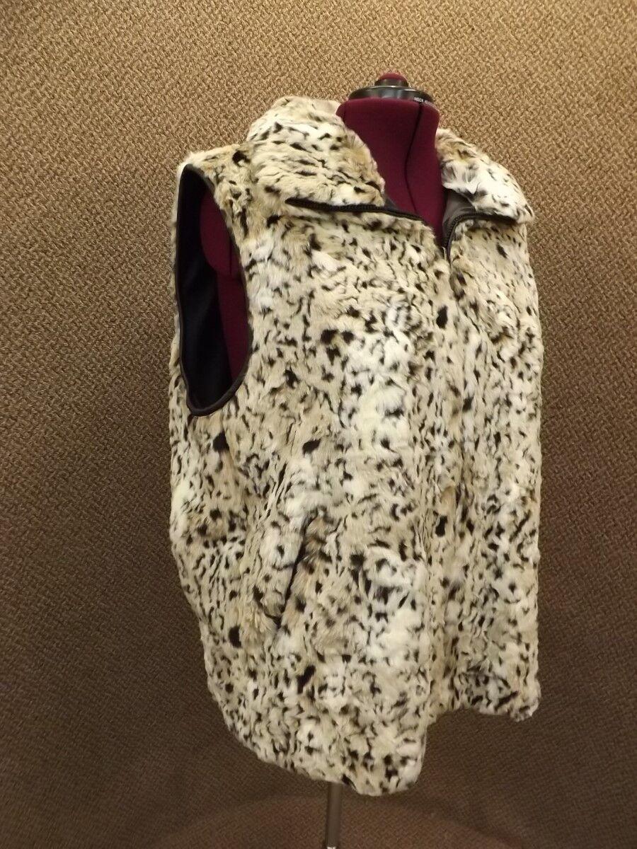 Gorgeous Giacca NEW Reversible Plush Faux Jaguar Fur Vest Womens Plus 2X Upscale