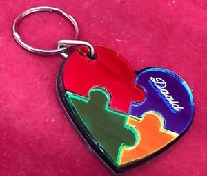 puzzle heart autism key chain custom name engraved free keychain