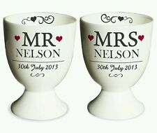 Personalised Mr and Mrs Egg Cup Pair Wedding Gift Anniversary Bride Groom
