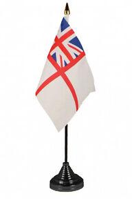 BRITISH WHITE ENSIGN ROYAL NAVY TABLE DESKTOP FLAG naval with black base NEW
