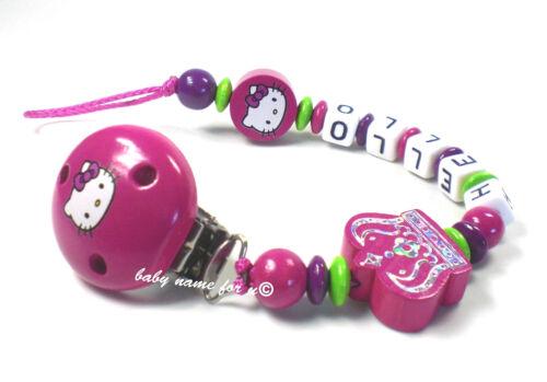 Chaîne de tétine avec nom hello kitty couronne tétine Support fille rose violet