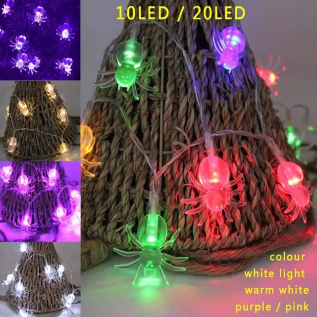 10 LED Purple Spider Lantern String Lights for Halloween Christmas Birthday Part