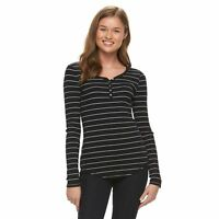 So Junior's Ribbed Fitted Henley $20 Tee - Large