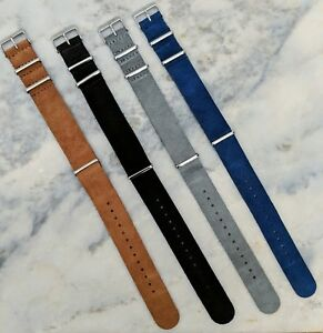 Suede-Leather-NATO-Watch-Strap-18mm-20mm-22mm-Grey-Brown-Black-Navy-Blue