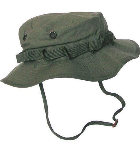 ARMY STYLE OLIVE GREEN BOONIE HAT RIPSTOP SUN FISHING ADJUSTABLE  CHINSTRAP
