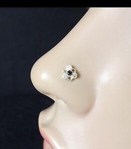 925 Sterling Silver Nose Stud Black Nose Ring Flower Nose Ring Valentine S Day Ebay