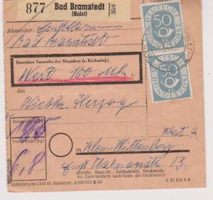 BUND-Mi-134-senkr-Paar-u-a-Bad-Bramstedt-Holst-3-1-53-Paketkarte