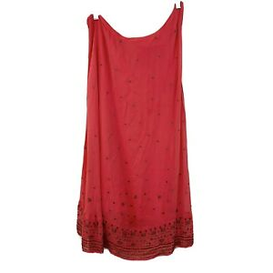 Free People sz 10 Beaded Embellished One Shoulder Shift Dress Coral Womens