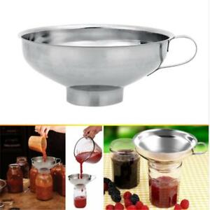 Food-Funnel-Cup-Stainless-Steel-Wide-Mouth-Canning-Hopper-Filter-Pro-Tools-DB