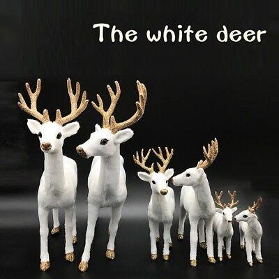 Christmas White Deer Xmas Plush Plastic Simulated Reindeer Adornment Home Decor