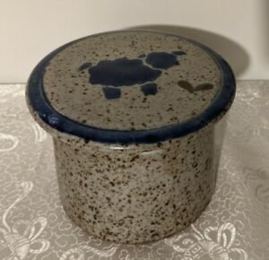 French Butter Keeper Crock Cup Bell Blue & Gray Glazed Stoneware Pottery Signed