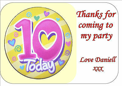 24 HAPPY 10TH BIRTHDAY GIRL PINK PERSONALISED BIRTHDAY PARTY BAG STICKER LABELS