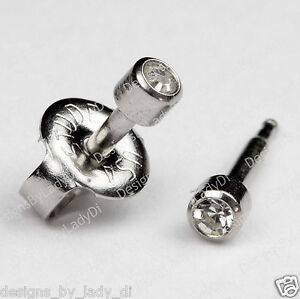 Image Is Loading Short Post Baby Studs Stainless Clear Gem Ear
