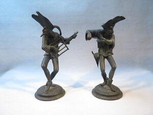 ANCIENNE-PAIRE-DE-BOUGEOIRS-2-PERSONNAGES-CUISINIERS-DAUMIER-COMEDIA-DEL-ARTE
