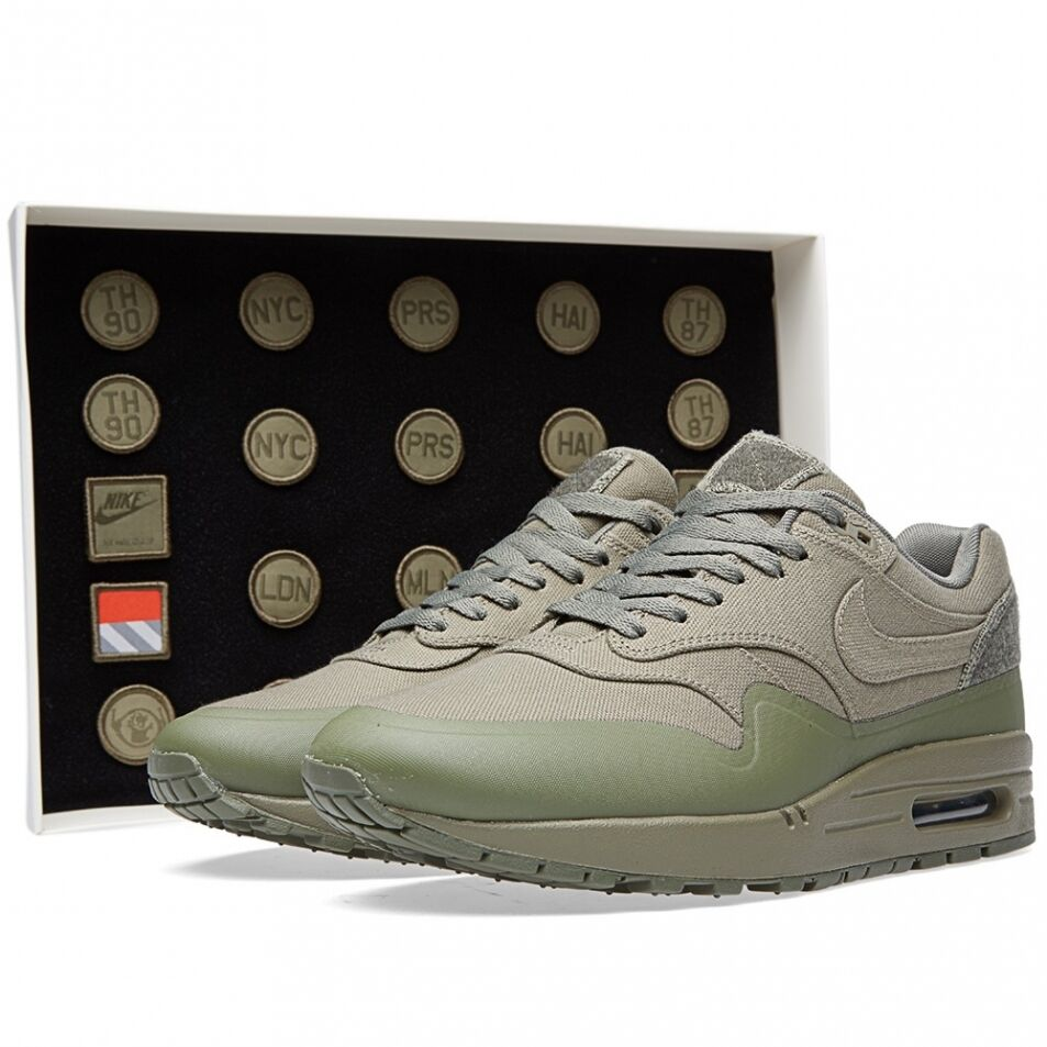2018 Nike Air Max 1 V SP SZ 6 Steel Green Patches Pack Nikelab QS 704901-300
