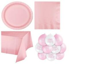 Rosa-Bambina-Baby-Shower-Party-Supplies-Stoviglie-Decorazioni-Ragazza-Partyware