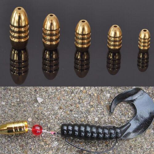 5x Fisch Sinkers Kupfer Rig Angeln Bullet 1.8//3.5//5//7//10g Süßwasser Sinker Nett
