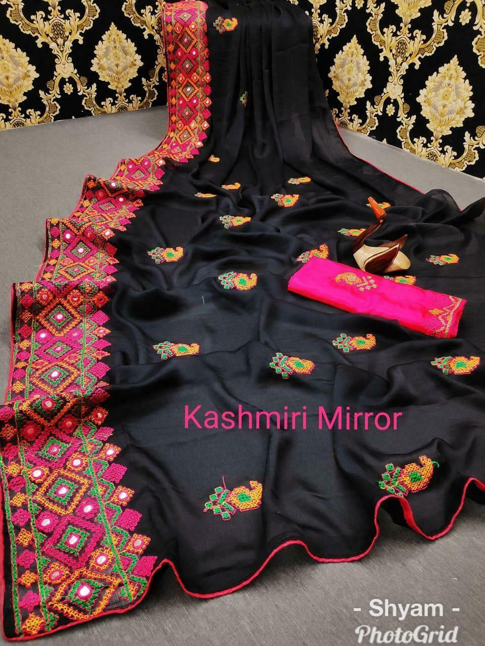 National Dress Day Indian Embroidered Thread Work & mirror work Saree SE19-3