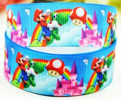 """7//8/"""" 2 YARDS Super Mario Brothers Grosgrain Ribbon Crafts Scrapbooks Cards Bows"""