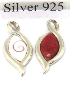 Koralle-oder-Shiva-Anhaenger-925-Sterling-Silber-mit-Lederband-2-mm-45-cm-Neu