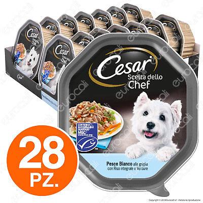 Cesar Scelta dello Chef per Cani con Pesce Riso Verdure - 28 Vaschette da 150g