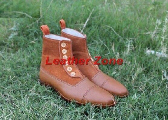 Handmade Uomo Tan color Button boots, Uomo Suede and leather Ankle Ankle leather button boots 7d625d