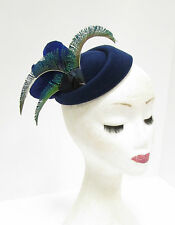 Green Navy Royal Blue Peacock Feather Pillbox Hat Hair Fascinator Races Vtg  2275 7b5dc5b77e5