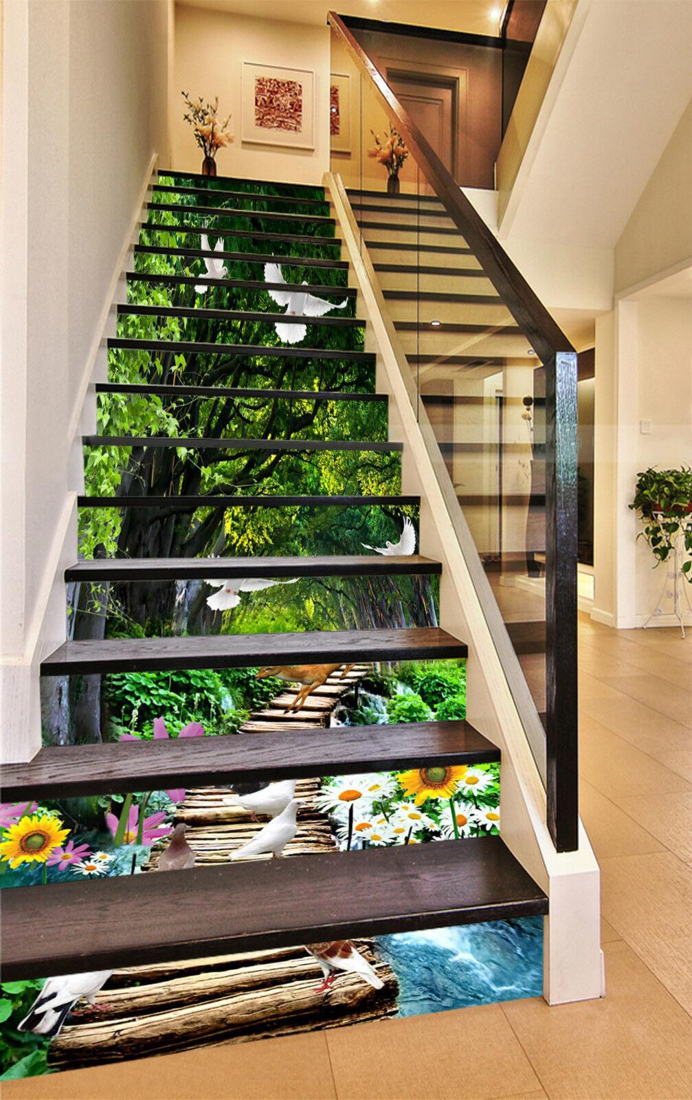 3D Wald Spur 478 Stair Risers Dekoration Fototapete Vinyl Aufkleber Tapete DE