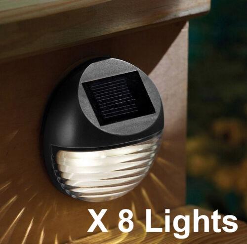 8X Energia Solare 2 LED Grondaia Recinto Luce Esterno Giardino Lampada Esterno Nero