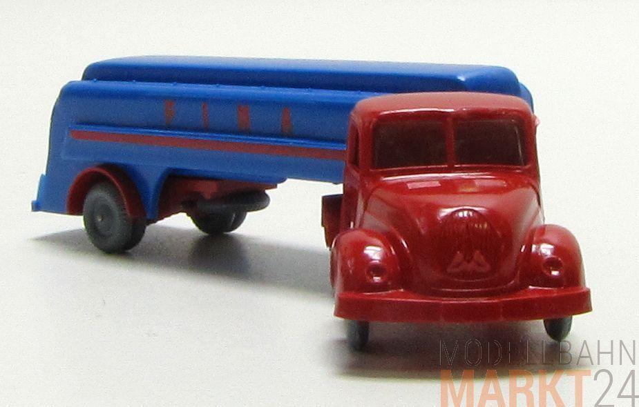 IMU Replika Magirus Rundhauber Lkw mit mit mit Anhänger  Fina  in red -blue  H0 1 87 681de9