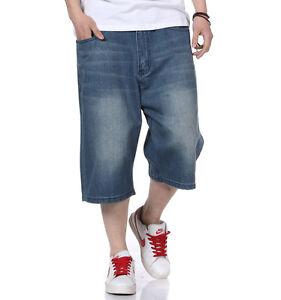 Mens-Jeans-Shorts-Denim-Loose-Fit-Capri-Pants-Baggy-Simple-Plus-Size-W30-W46