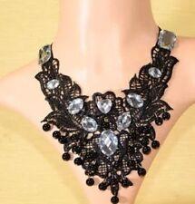 Spitze Samt Halsband Halskette Halsschmuck Strass Barock Perlen Schwarz 1197