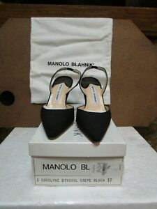 Manolo Blahnik Black Crepe Slingbacks NEW