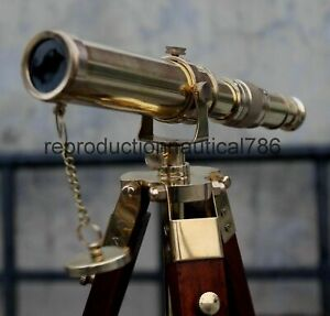 Nautical Solid Brass Telescope With Wooden Tripod Vintage  Navy Ship Telescope