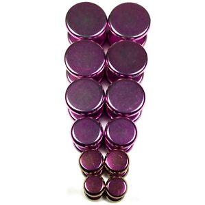V147-Hot-Pink-Purple-Fake-Cheater-Illusion-Faux-Flat-Plugs-4G-2G-0G-00G-7-16-1-2