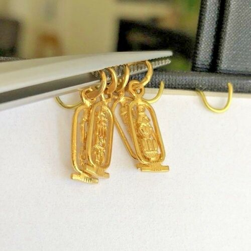 18K Solid Gold Egyptian charms cartouche Isis Tut Nefertiti Cleopatra Cutout #75