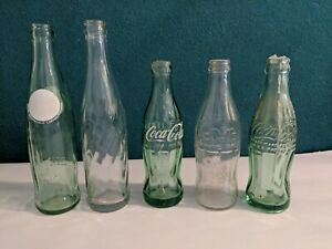 Vintage Lot Of 5 Mixed Royal Crown Cola &  Coca-Cola Glass Bottles