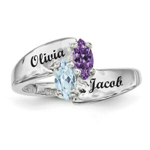 Sterling-Silver-Couples-Ring-Marquise-Birthstones-Promise-ring-collection
