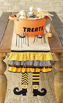 MUD PIE Fun Halloween Witch Leg Table Runner Party Home Decor Felt Burlap