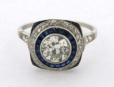 Stunning Art Deco .83 Center Diamonds Sapphires Platinum Ring