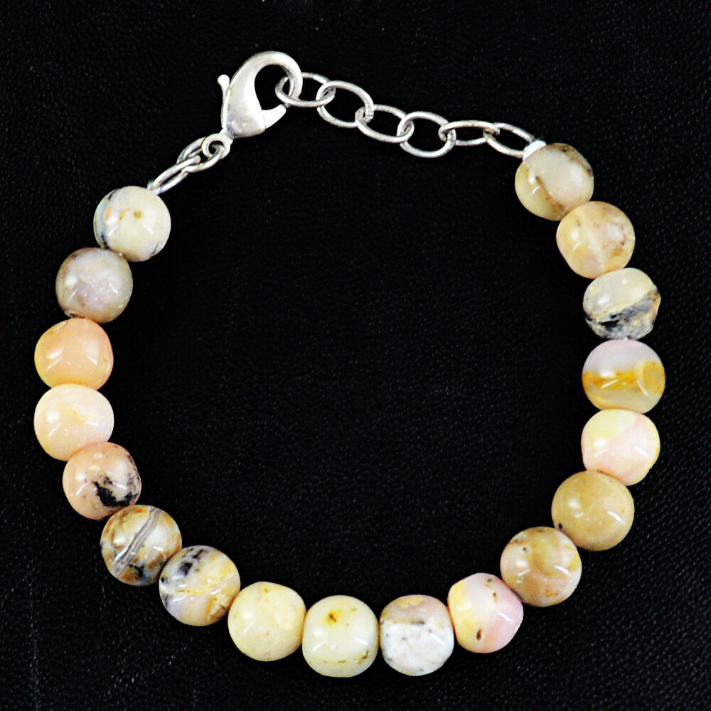 76.50 Cts Natural Untreated Pink Australian Opal Round Shape Beads Bracelet