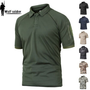 Mens-Tactical-Combat-T-Shirts-Army-Military-Short-Sleeve-Casual-POLO-Shirts-Camo