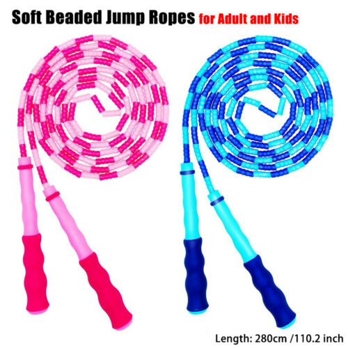2Pcs Skipping Rope Adult Kids Soft Beaded Jump Rope for Keeping Fit Workout