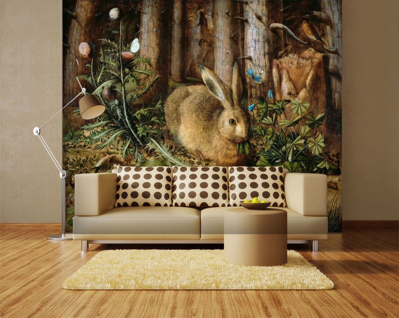 3D Rabbit Forest 7363 Wallpaper Mural Wall Print Wall Wallpaper Murals US Lemon