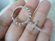 Sterling Silver - DESIGNER Religious Pebbled Dangle Crystal Cross 3.0g Ring S6.0