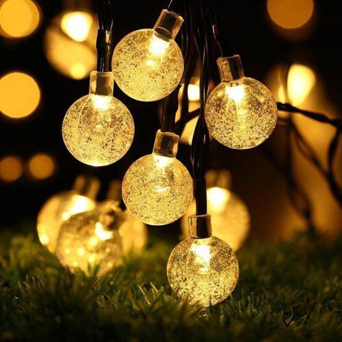 5m 20LED Solar Lichterkette Kugeln Innen Außen Garten Leuchte Party Licht Deko