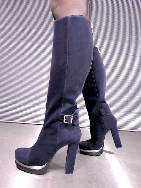 Mori  Platform Heels Knee High Stiefel Stiefel Stiefel Suede Leather Blau 36
