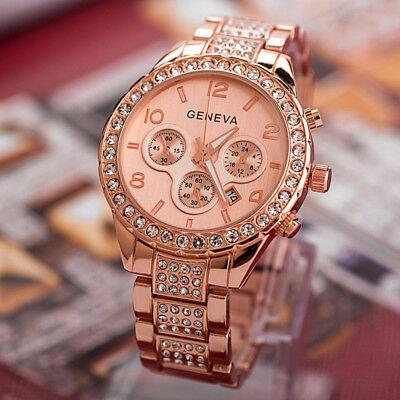 Luxury Fashion Geneva Women's Crystal Stainless Steel Quartz Analog Wrist Watch