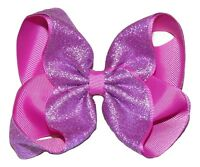 shimmery Purple Sparkly Hairbow Alligator Clips Girls Ribbon Bows 5 Inch